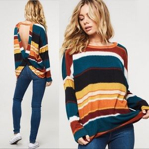 NEW! Colorblock Striped Loose Knit Sweater Top